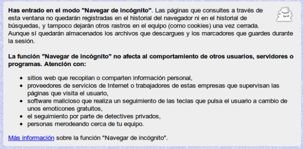 "Modo ""Navegar incógnito"" en Google Chrome/Chromium"