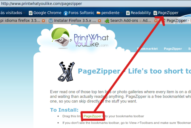Bookmarklet PageZipper