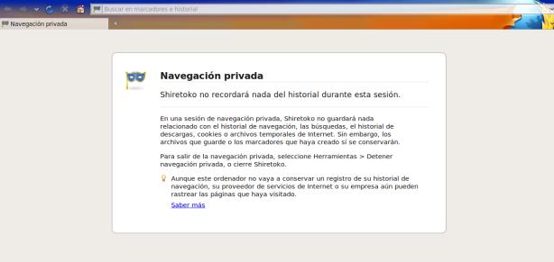 Pantalla presentación Navegación privada en Firefox