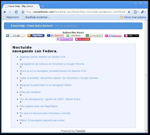 Bookmarklet para portales de sindicación de noticias