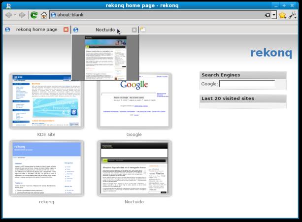 Pantallazo-rekonq home page - rekonq