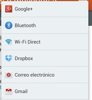 Apareceran unas aplicaciones u otras, dependiendo de los programas instalados en vuestro Android.