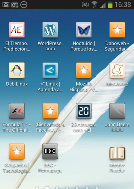Accesos directos en el escritorio de Android, creados desde Firefox.